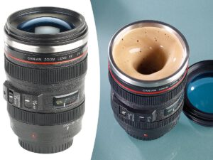 Kameraobjektiv Kaffeebecher